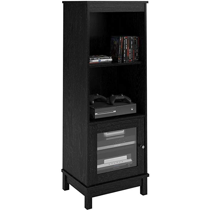 Media Storage Bookcase Tower Multimedia Organizer Shelf Cabinet Sliding Glass Doors and Contemporary Clean Line Aesthetics with Dimensions: 19.69