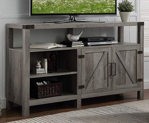 Home Accent Furnishings New 58 Inch Wide Barndoor Highboy Television Stand in Grey Wash Finish Review