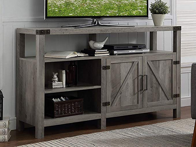 Home Accent Furnishings New 58 Inch Wide Barndoor Highboy Television Stand in Grey Wash Finish
