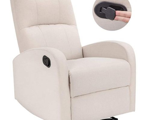 Homall Recliner Chair White Tufted Fabric Home Theater Seating Modern Chaise Couch Lounger Sofa Seat (White) Review