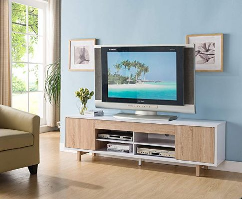 Smart home 151360 White & Weathered White 70″ Entertainment Center TV Stand Review