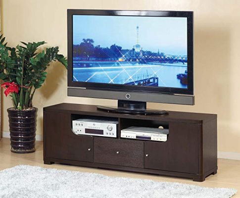 Smart home 13763 60″ TV Stand Modern Entertainment Console (Red Cocoa (Espresso)) Review