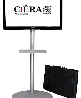 CiERA EZ StandTall ONE Portable TV Stand with Padded Carrying Case and Shelf for 28-70 Inch TV's – Silver Review