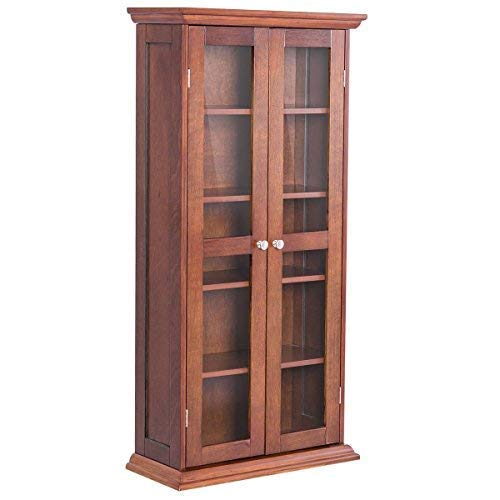 TANGKULA CD&DVD Cabinet 5 Shelves Elegant Multi-Functional Media Tower Storage with Tempered Glass Door