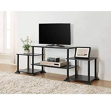 Mainstay Multiple Shelves No Tools 3-Cube Storage Entertainment Center for TVs up to 40″ (Black Oak) Review