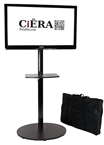 CiERA EZ StandTall ONE Portable TV Stand with Padded Carrying Case and Shelf for 28-70 Inch TV's - Black