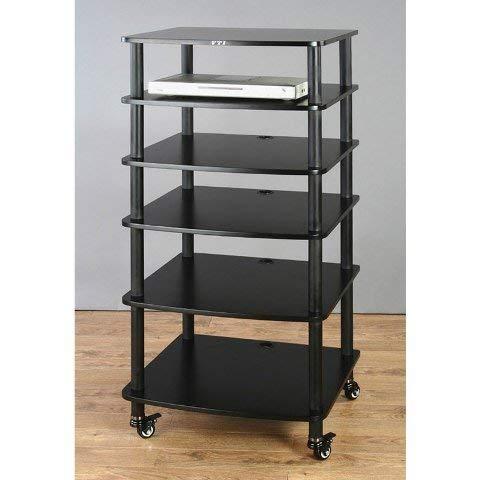 VTI AR406 6 Shelf Black Audio Rack - Black/Black