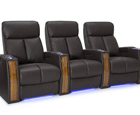Seatcraft Seville Home Theater Seating Leather Power Recline with SoundShaker, in-arm Storage, Base Lighting, and Lighted Cup Holders (Brown, Row of 3) Review