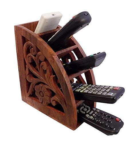 Dungri India ® Wooden Multi Remote Control Holder/stand/organizer/rack for Space Saving 4 Slot TV Remote Control Storage Organizer Caddy