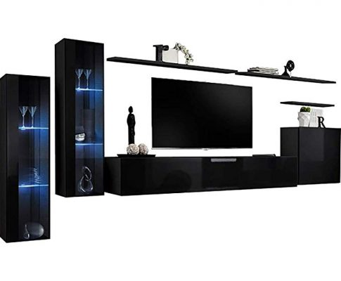Shift XI – Seattle Collection High Gloss Living Room Furniture – Floating TV Cabinet – European Design Wall Mounted cabinets with LED Lighting (Black & Black Gloss) Review