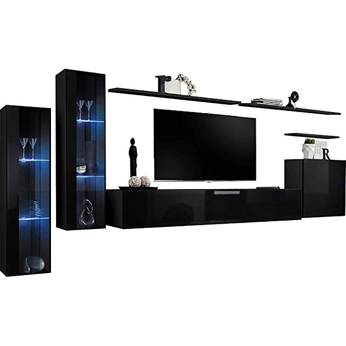 Shift XI - Seattle Collection High Gloss Living Room Furniture - Floating TV Cabinet - European Design Wall Mounted cabinets with LED Lighting (Black & Black Gloss)
