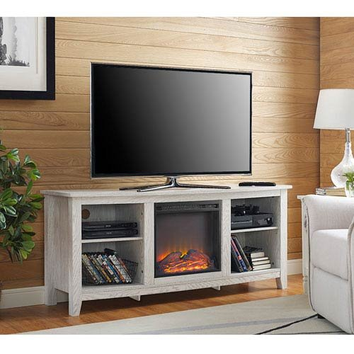 Fireplace TV Stand in White Finish
