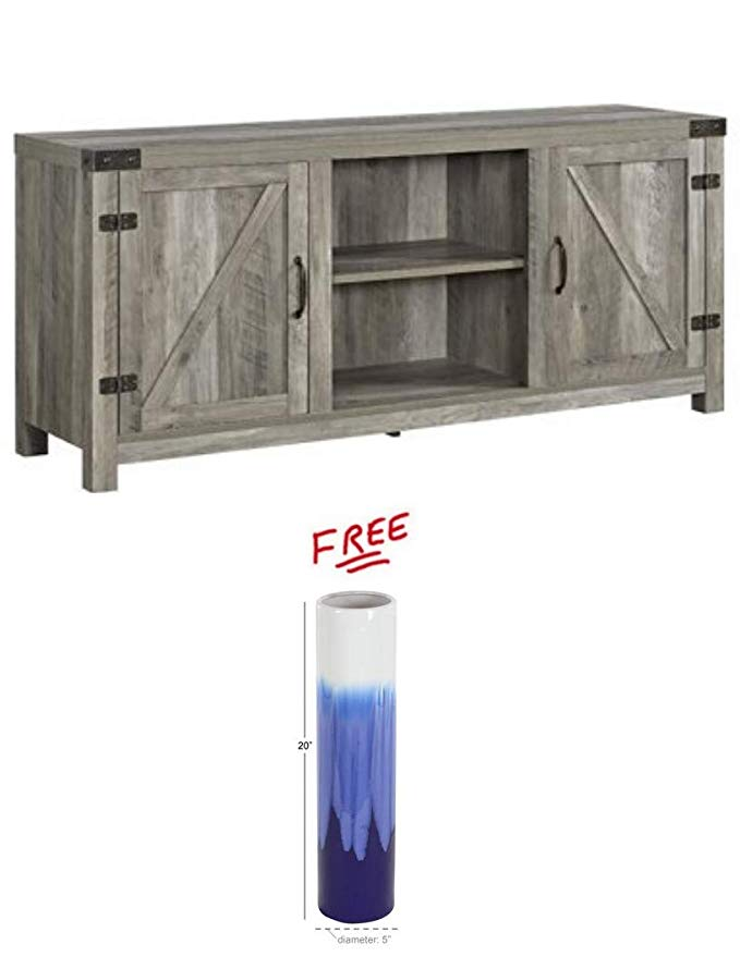 Home Accent Furnishings 58 Inch Door Television Stand Side Doors in Grey Wash Finish Free!