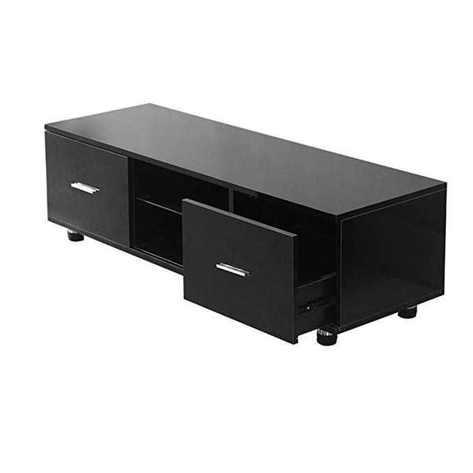 Nexttechnology TV Stand Entertainment Center Modern TV Cabinet Media Console Home Furniture TV Table (Black, 47 Inch)