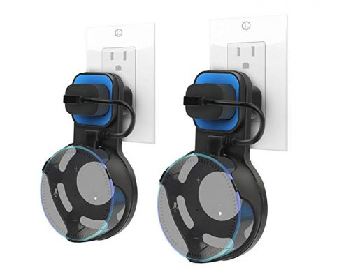 Dylawell Outlet Wall Mount Hanger Stand for Amazon Echo Dot 2nd Generation, A Smart Home Speakers Accessories Without Messy Wires or Screws (Black-Blue 2-Pack) Review