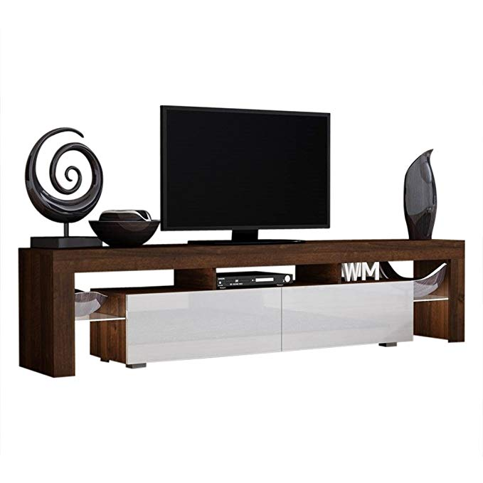 TV Stand Solo 200 Modern LED TV Cabinet/Living Room Furniture/Tv Cabinet fit for up to 90-inch TV Screens/High Capacity Tv Console for Modern Living Room (Walnut/White)