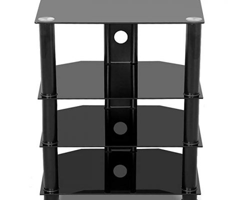 go2buy 4 Tier Black Glass Media Component Stand Audio Rack with Cable Management, Storage for Xbox, Playstation, Speakers, Cable Boxes Review