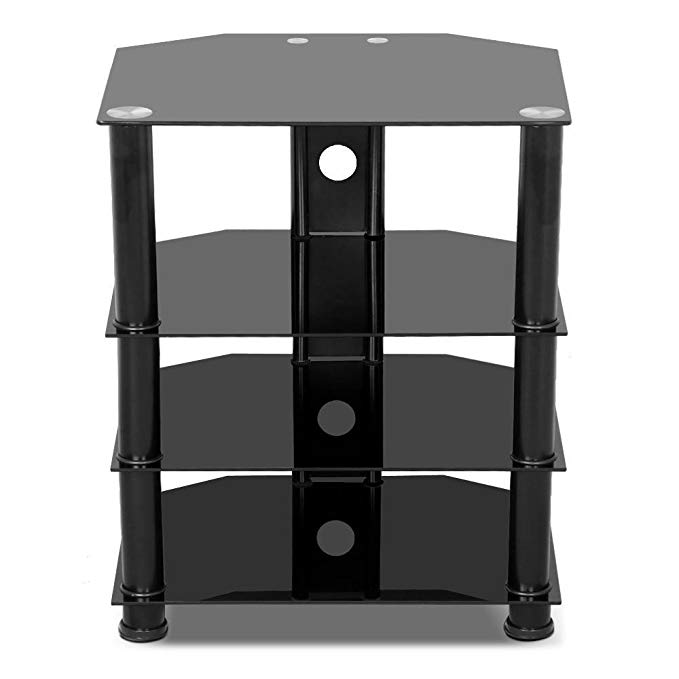 go2buy 4 Tier Black Glass Media Component Stand Audio Rack with Cable Management, Storage for Xbox, Playstation, Speakers, Cable Boxes