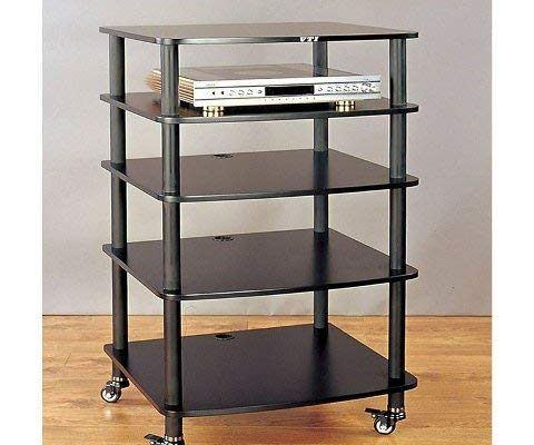 VTI AR405 5 Shelf Audio Rack with Casters – Black/Black Review
