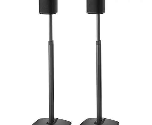 Sanus Adjustable Height Wireless Speaker Stands Designed SONOS ONE, Play:1 Play:3 – Tool-Free Height Adjust Up to 16″ Built in Cable Management – Black Pair Review
