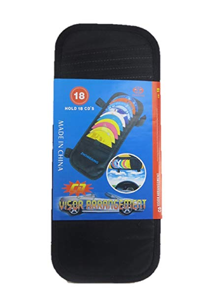 Car Visor CD Holder. Water, heat, and tear resistant material. Hold 18 CD's. Portable CD organizer.