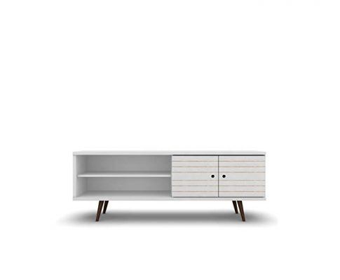ModHaus Living Mid Century Modern 62.99 Inch TV Stand Storage with 3 Shelves 2 Doors and Solid Wood Legs – Includes Pen (White) Review