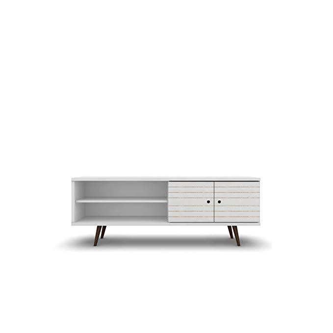 ModHaus Living Mid Century Modern 62.99 Inch TV Stand Storage with 3 Shelves 2 Doors and Solid Wood Legs - Includes Pen (White)