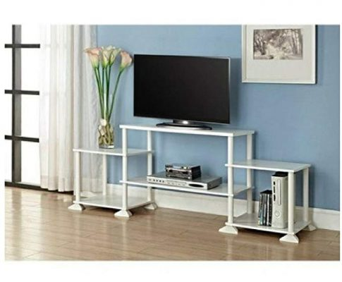 Multiple Shelves Mainstays No Tools 3-Cube Storage Entertainment Center for TVs up to 40″ (White) Review