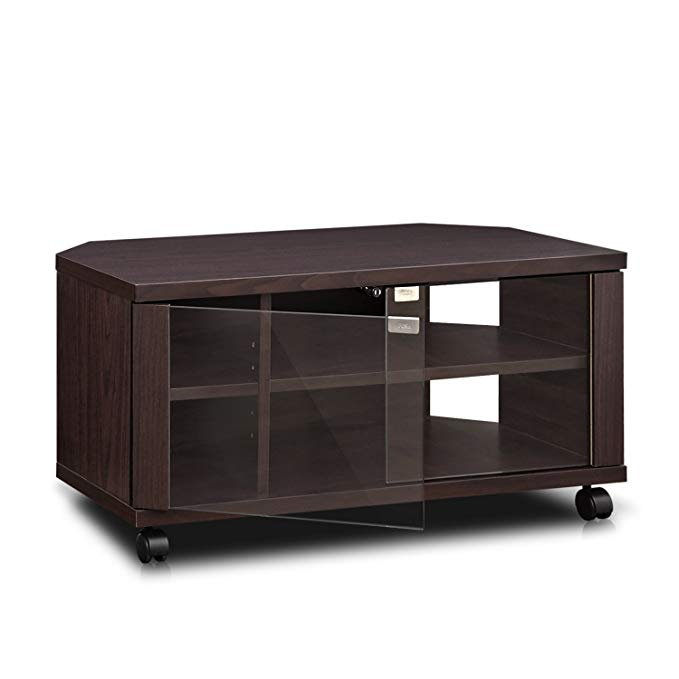 Furinno Indo FL-800EX TV Stand with Double Glass Doors and Casters, 2 x 2