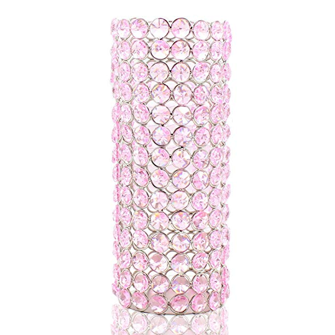Chandelier Speaker Stand with Crystals - Light Pink