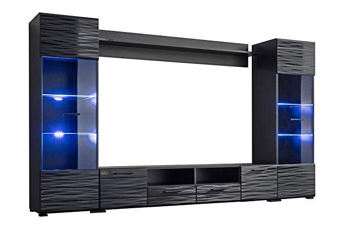 Meble Furniture & Rugs Modica Modern Entertainment Center Wall Unit with Blue LED Lights 65