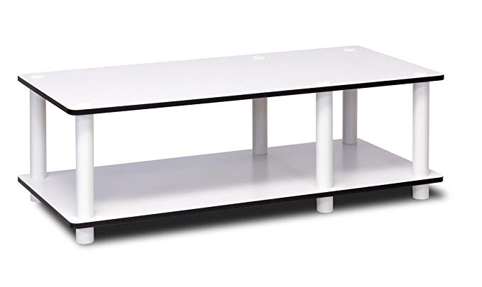 Furinno 11174WH(EX)/WH Just No Tools Mid TV Stand, White w/White Tube