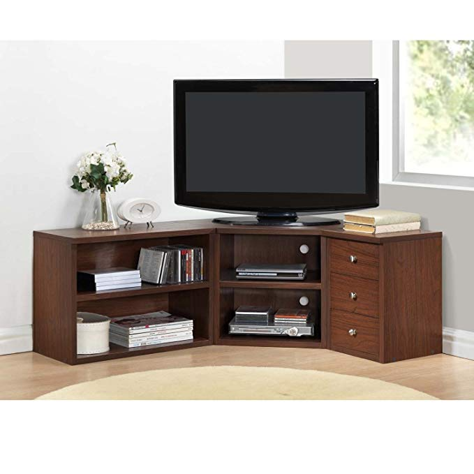 Corner TV Stands for Flat Screens Oak Finish with Storage