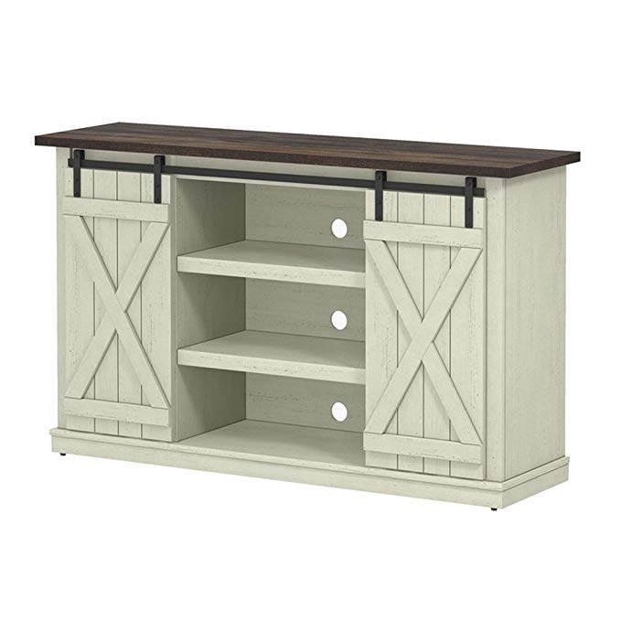 Industrial 54'' TV Stand - Antique Rustic Look - Sliding Doors - Vintage Design (Off-White With Pine Top)