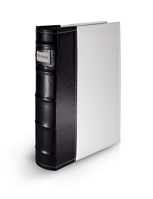 Bellagio-Italia White DVD Storage Binder - Stores Up to 48 DVDs, CDs, or Blu-Rays - Stores DVD Cover Art - Acid-Free Sheets