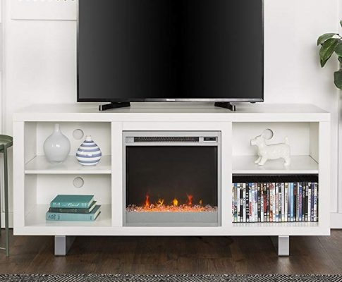 New 58 Inch Wide Simple Modern Fireplace Television Stand in White Finish Review