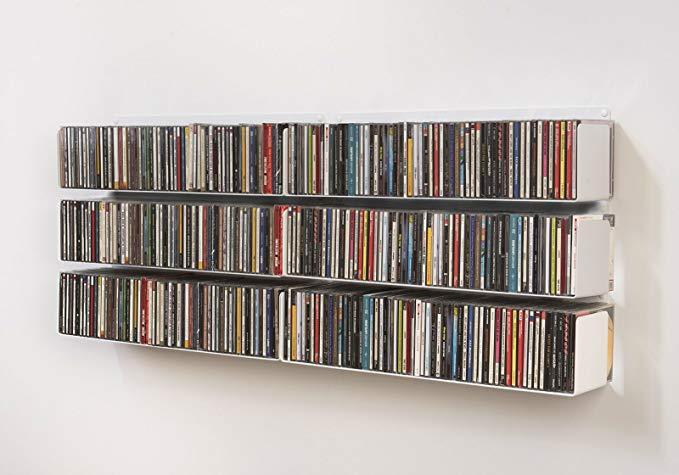 TEEbooks - DVD & CD shelves - Set of 6 - STEEL - WHITE - 23,6