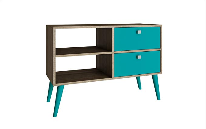 Manhattan Comfort Dalarna Series Long Tabletop TV Stand Console with Open Shelf Design and 2 Drawers, Oak and Aqua