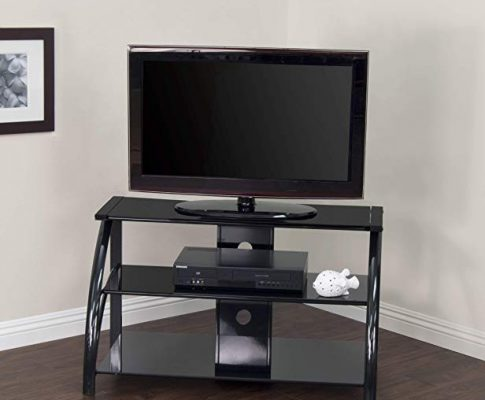 Calico Designs 60625 Stilletto TV Stand, 37.25-Inch Width by 18.5-Inch Depth by 22-Inch Height, Black with Black Glass Review