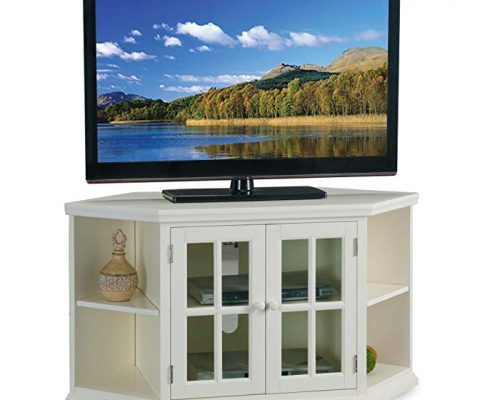 White 46″ Corner TV Stand with Bookcases Review