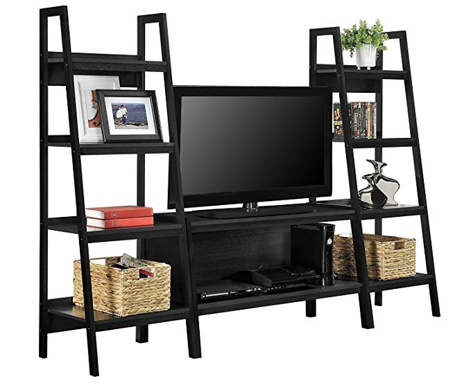 Alltra TV Stand + Bookcase Entertainment Console Rack Rear for up to 45