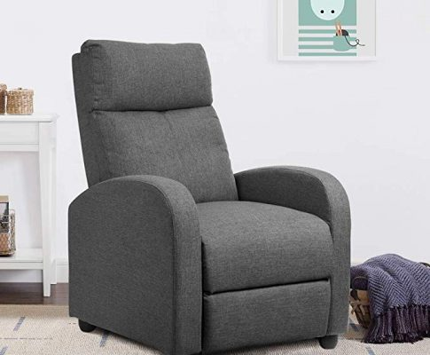 JUMMICO Adjustable Linen Recliner Chair Home Theater Single Recliner Sofa Seat Furniture with Thick Seat Cushion and Backrest Modern Living Room Recliners Chair (Grey) Review