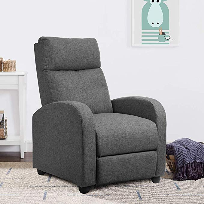 JUMMICO Adjustable Linen Recliner Chair Home Theater Single Recliner Sofa Seat Furniture with Thick Seat Cushion and Backrest Modern Living Room Recliners Chair (Grey)