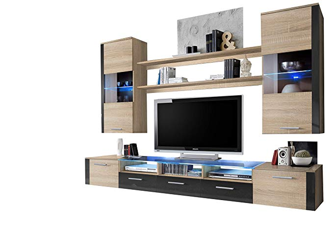 Concept Muebles Fresh Modern Wall Unit/Entertainment Centre/Spacious and Elegant Furniture/Tv Cabinets/Tv Stand for Modern Living Room/High Capacity Living Room Furniture (Baltimore)