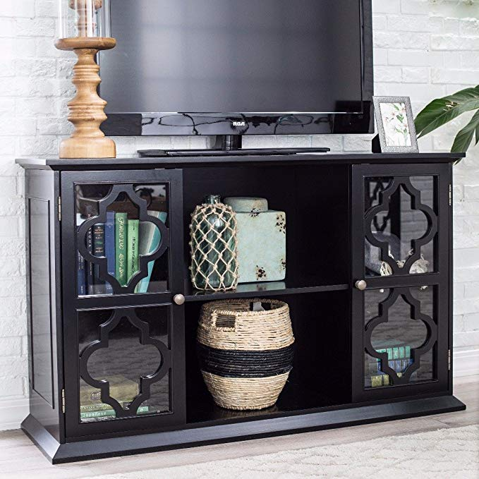 ModHaus Living Modern Moroccan Black Quatrefoil TV Stand Media Cabinet with Glass Doors - Includes Pen