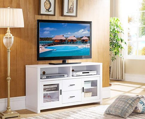 47″ Smart Home Edition Modern Entertainment Console TV Stand Unit (White) Review