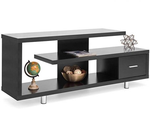 Best Choice Products Living Room Home Entertainment Systems Media Console TV Stand Storage Cabinet Display w/ 3 Shelves, Sliding Drawer – Black Review