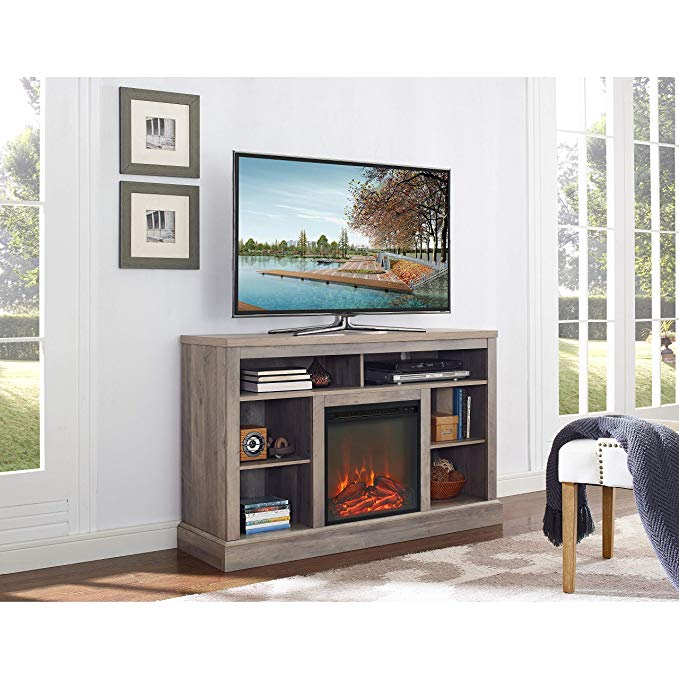 52-inch Fireplace TV Stand with Open Storage - Grey Wash - N/A