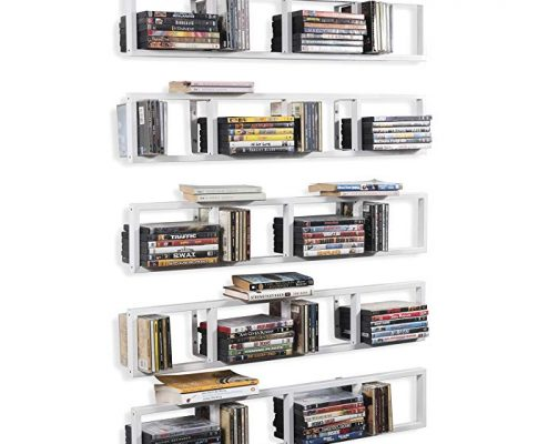 BHG Wall Mount Media Storage Rack Cd DVD Organizer 34 Inch Metal Floating Shelf Set of 5 White Review