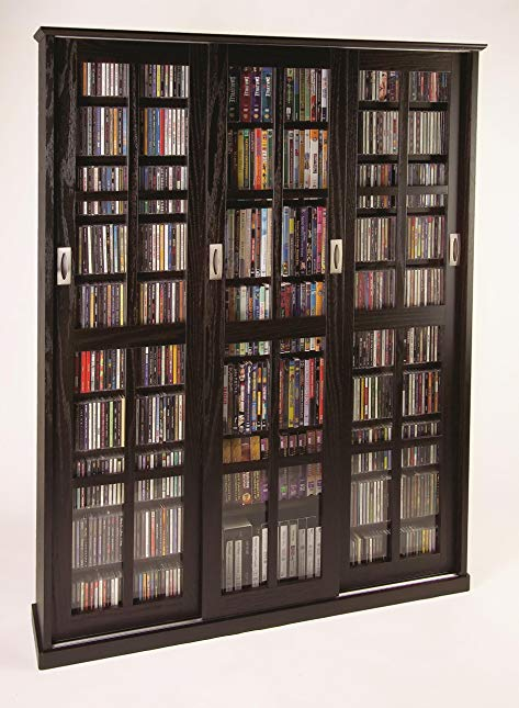 Sliding Door Inlaid Glass Mission Style Multimedia Cabinet (MS-1050 Series) Espresso